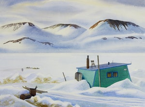 Artwork by Doris Jean McCarthy, Inuit House Against the Sunlit Distance