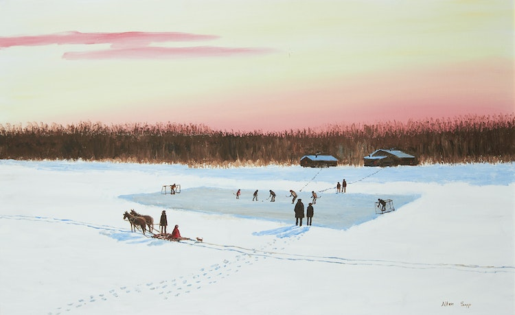 Artwork by Allen Sapp,  A Nice Day for Playing Hockey