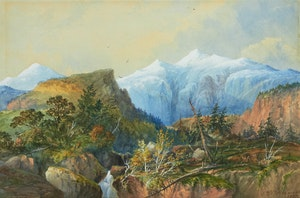Artwork by William Nicoll Cresswell, Waterfall in the Rockies