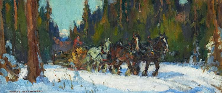 Artwork by Manly Edward MacDonald,  Logging Scene