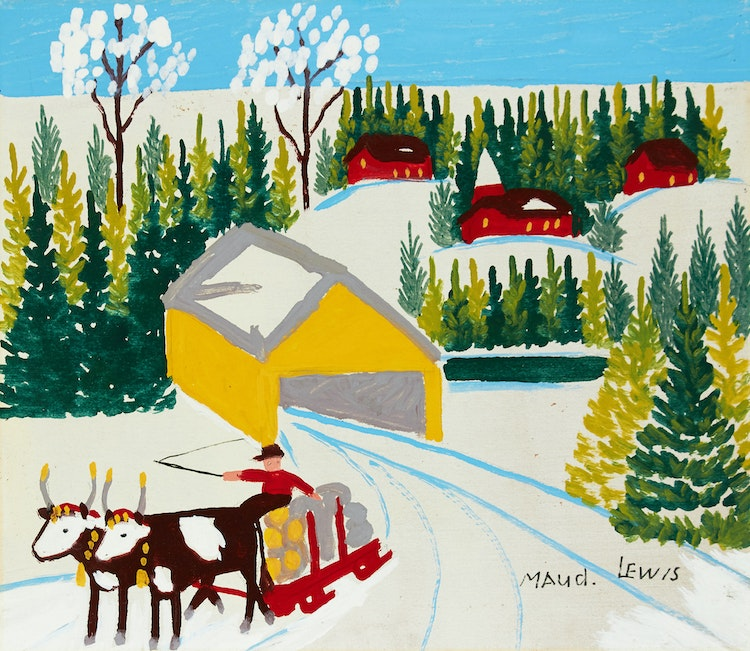 Artwork by Maud Lewis,  Winter Sleighing Scene