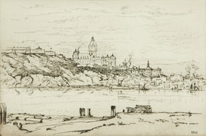 Artwork by Robert Wakeham Pilot, Quebec from Pointe Levis