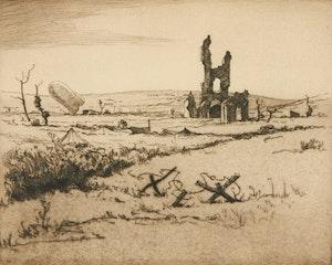Artwork by Cyril Henry Barraud, Ablain-Saint-Nazaire from the East