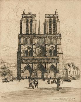 Artwork by Caroline Helena Armington, Notre Dame de Paris en 1918