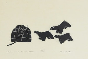 Artwork by Johnny Inukpuk, A True Story of Johnny Being Attacked by Three Bears While in His Igloo