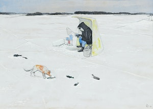 Artwork by William Kurelek, The Good Fish and the Bad