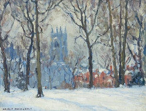 Artwork by Manly Edward MacDonald, Hart House in Winter