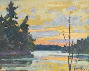 Artwork by Peter Clapham Sheppard, Sunset, Prospect Lake, Muskoka