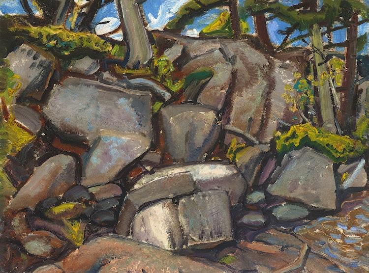 Artwork by Arthur Lismer,  Tumbled Rocks, Georgian Bay