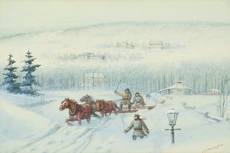 Artwork by John McNaughton,  Snow Plow, Greene Avenue, Montreal; Delivering Milk, Dorchester St., Westmount, Montreal