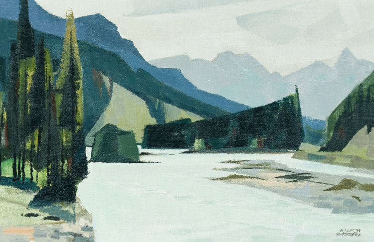 Artwork by Hilton MacDonald Hassell,  Kicking Horse River (Near Field, B.C.)