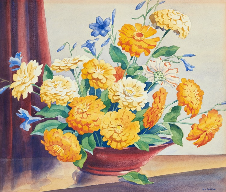 Artwork by Alfred Joseph Casson,  Zinneas
