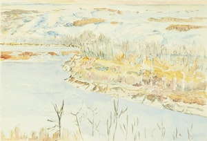 Artwork by Dorothy Elsie Knowles, Riverbank Snow