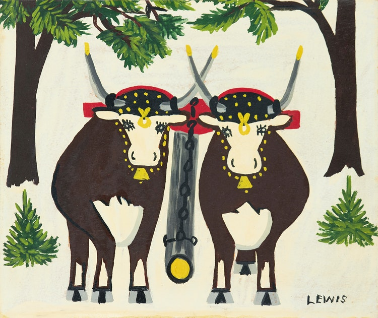 Artwork by Maud Lewis,  A Pair of Oxen in Winter