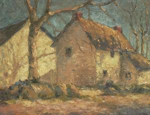 Artwork by John William Beatty, Sunlit Houses