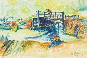 Artwork by William Perehudoff, Untitled (Summer Landscape with Bridge)