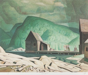 Artwork by Alfred Joseph Casson, Sunshine After Rain; Mill House; Pink Farm House