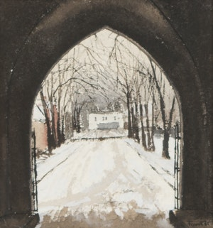 Artwork by Albert Jacques Franck, Gate on St. Mary's (Victoria College, Toronto)