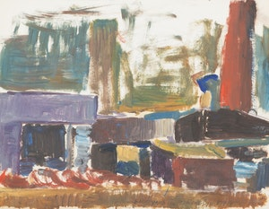 "Artwork by Rita Briansky, Study From Henry Moore; Autumn Study; Back Yard; ""Anson"""
