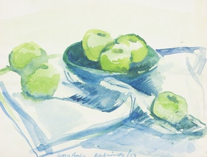 Artwork by Rita Briansky, Green Apples; Laurentian Landscape
