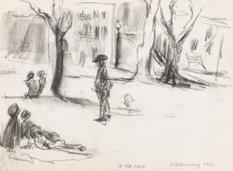 Artwork by Rita Briansky,  Apple Orchard; Side Door; Joseph; In The Park; Self Portrait; Carl Sandburg