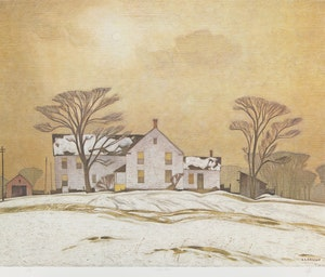 Artwork by Alfred Joseph Casson, Farm House; Autumn Decorations; Approaching Thunderstorm