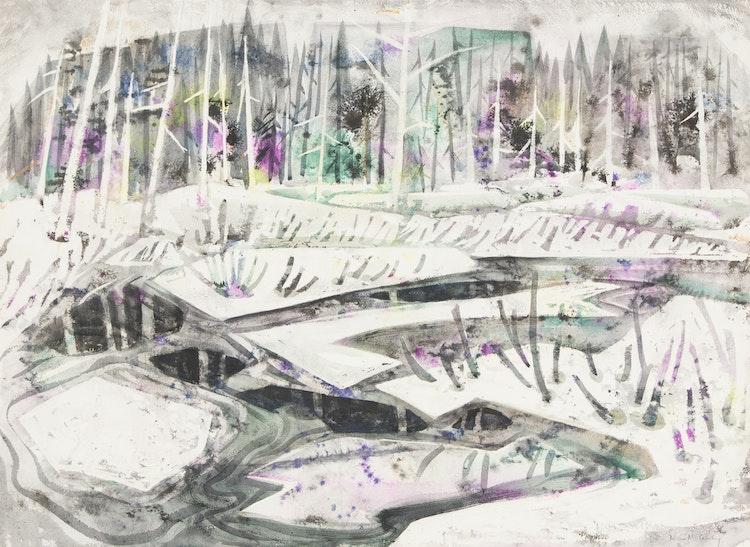 Artwork by Doris Jean McCarthy,  Abstract Winter Landscape