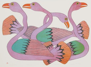 Artwork by Kenojuak Ashevak, Swans at Sunset