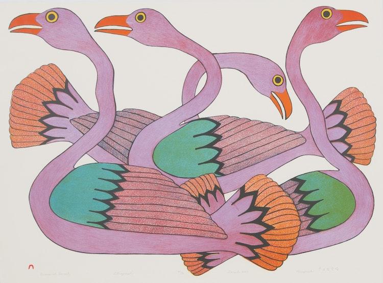 Artwork by Kenojuak Ashevak,  Swans at Sunset