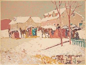 Artwork by Albert Henry Robinson, Returning from Easter Mass