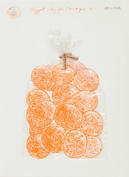 Artwork by Iain Baxter&, Bagged Day-Glo Oranges (Simon Fraser Centennial Suite)