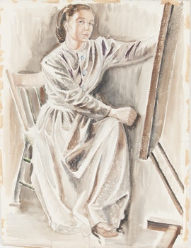 Artwork by Doris Jean McCarthy, Self Portrait of the Artist in Her Studio on Neville Park Blvd. Toronto