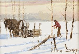 Artwork by Allen Sapp, Chopping Wood