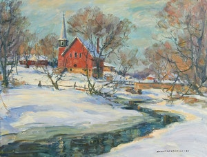 Artwork by Manly Edward MacDonald, Unionville Church in Winter