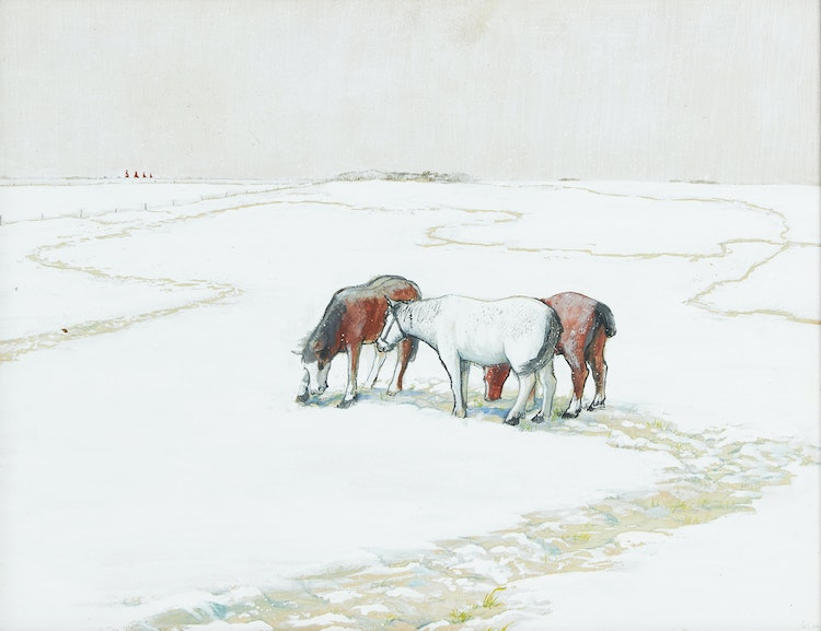 Artwork by William Kurelek,  Snow Showers and Horses Foraging