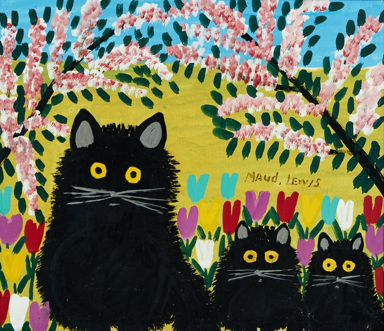Artwork by Maud Lewis,  Three Black Cats