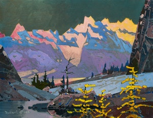Artwork by Robert Genn, Alpenglow From Rocky Point Ridge