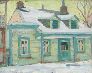 Artwork by Albert Henry Robinson, Quebec House in Winter