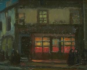 Artwork by Albert Henry Robinson, Cafe Clare St, Servan (Night Effect)