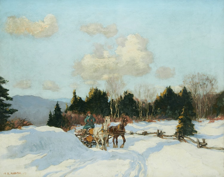Artwork by Frederick Simpson Coburn,  Logging in Winter