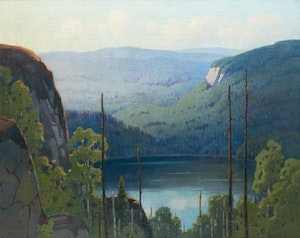 Artwork by Frederick Henry Brigden, Lake in the Hills