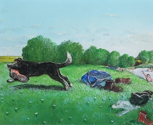 Artwork by William Kurelek, Stop Thief!
