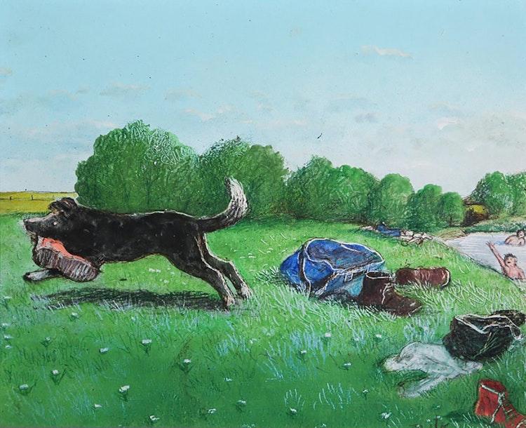 Artwork by William Kurelek,  Stop Thief!