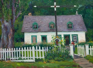Artwork by Robert Wakeham Pilot, Cottage with Cross, Newfoundland