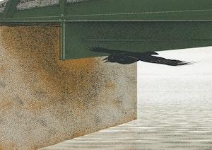 Artwork by David Alexander Colville, Bridge and Raven