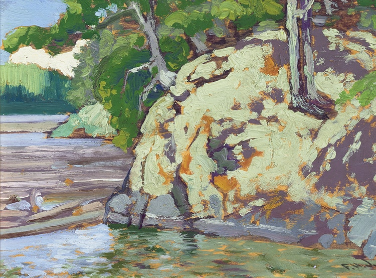 Artwork by Frank Hans Johnston,  A Rocky Corner - Bryce's Island, Lake of the Woods