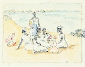 Artwork by John Goodwin Lyman, Nannies on the Beach