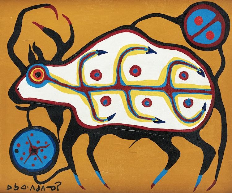 Artwork by Norval Morrisseau,  Medicine Buffalo