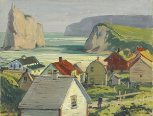 Artwork by Adolphus George Broomfield, Village of Perce Rock, Gaspe