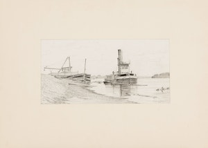 Artwork by Frederick Bourchier Taylor, Boom Tug on the Ottawa River (Study for Etching); Mex, Mother and Child (Study for a Painting); Tower Bridge, London; Sketch of a Boy